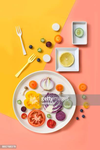flay lay colourful assorted vegan food still life. - elemento de desenho - fotografias e filmes do acervo