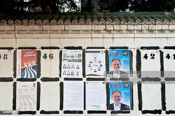 Flächen für Wahlplakate 3 Wochen vor den Wahlen in Tunesien