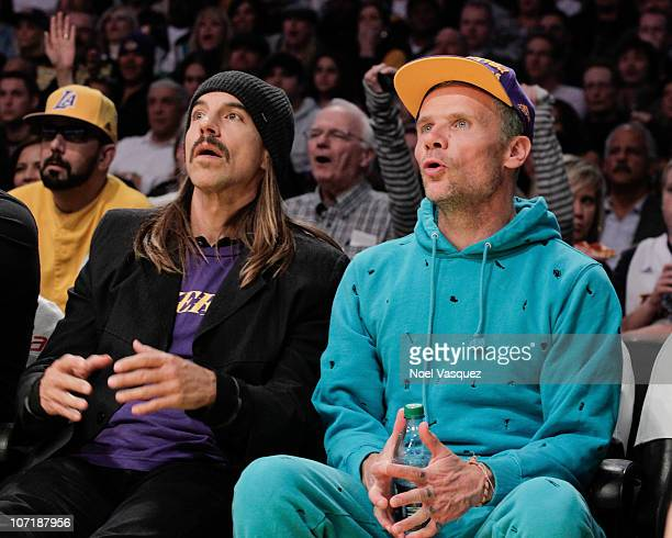 Flea and Anthony Kiedis attend a game between the Indiana Pacers and the Los Angeles Lakers at Staples on November 28 2010 in Los Angeles California