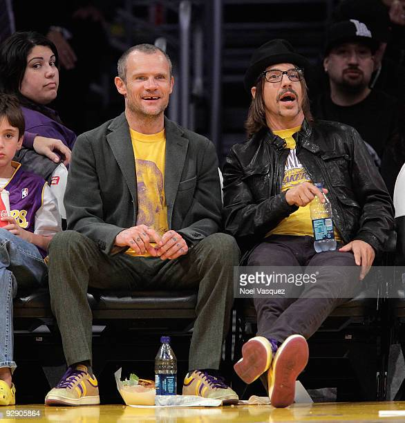 Flea and Anthony Kiedis attend a game between the New Orleans Hornets and the Los Angeles Lakers at Staples Center on November 8 2009 in Los Angeles...