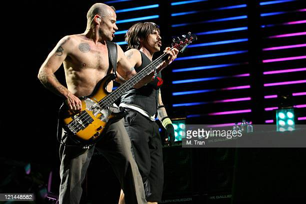 Flea and Anthony Kiedis of Red Hot Chili Peppers during Coachella Valley Music and Arts Festival - Day Two - Red Hot Chili Peppers at Empire Polo...