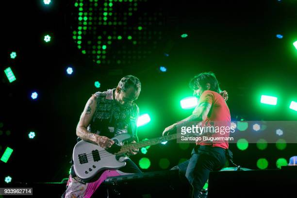 Flea and Anthony Kiedis of Red Hot Chili Peppers perform during the first day of Lollapalooza Buenos Aires 2018 at Hipodromo de San Isidro on March...