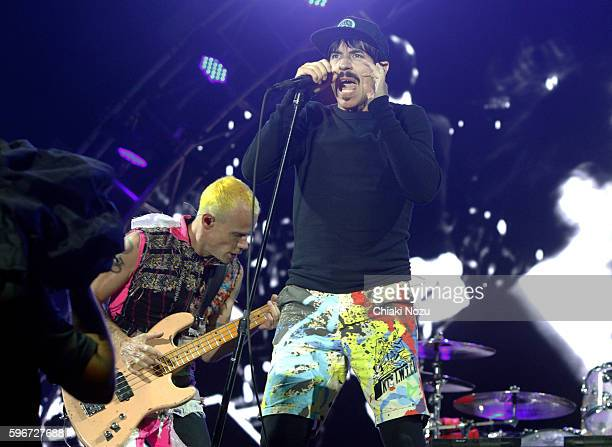 Flea and Anthony Kiedis of Red Hot Chili Peppers perform on Day 2 of Reading Festival at Richfield Avenue on August 27, 2016 in Reading, England.