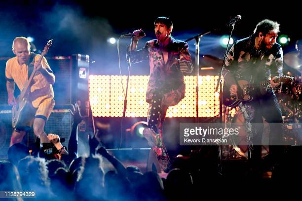 Flea and Anthony Kiedis of Red Hot Chili Peppers perform with Post Malone onstage during the 61st Annual GRAMMY Awards at Staples Center on February...