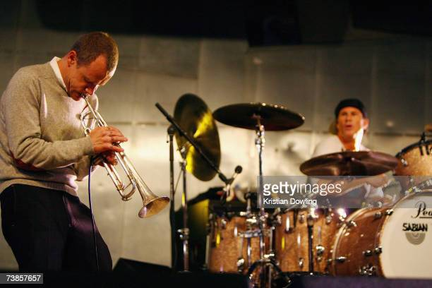 Flea and Chad Smith of the Red Hot Chili Peppers perform during a concert at Federation Square on April 11 2007 in Melbourne Australia Flea and Smith...