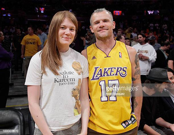 Flea and his daughter Clara Balzary attend Game Two of the Western Conference Finals between the Phoenix Suns and the Los Angeles Lakers during the...
