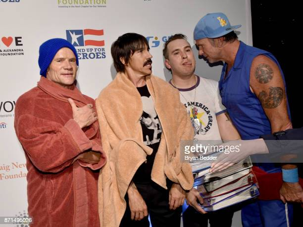 Flea Anthony Kiedis and Chad Smith attend the 11th Annual Stand Up for Heroes Event presented by The New York Comedy Festival and The Bob Woodruff...