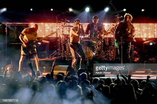 Flea, Anthony Kiedis, and Chad Smith of Red Hot Chili Peppers and Post Malone perform onstage during the 61st Annual GRAMMY Awards at Staples Center...