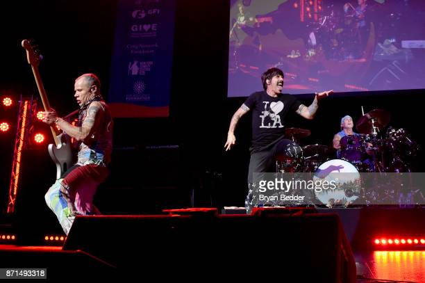 Flea Anthony Kiedis and Chad Smith of Red Hot Chili Peppers perform onstage during the 11th Annual Stand Up for Heroes Event presented by The New...