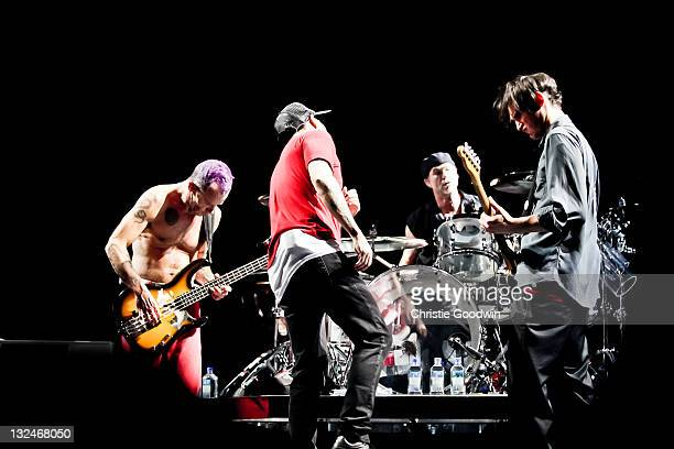 Flea Anthony Kiedis Chad Smith and Josh Klinghoffer of the Red Hot Chili Peppers perform on stage at the O2 Arena on November 7 2011 in London UK