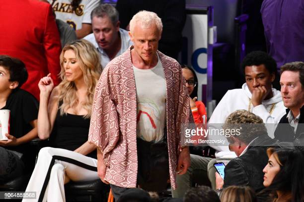 Flea attends a basketball game between the Los Angeles Lakers and and the Minnesota Timberwolves at Staples Center on November 07 2018 in Los Angeles...