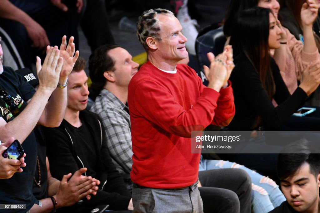 Flea attends a basketball game between the Los Angeles Lakers and the Denver Nuggets at Staples Center on March 13, 2018 in Los Angeles, California.