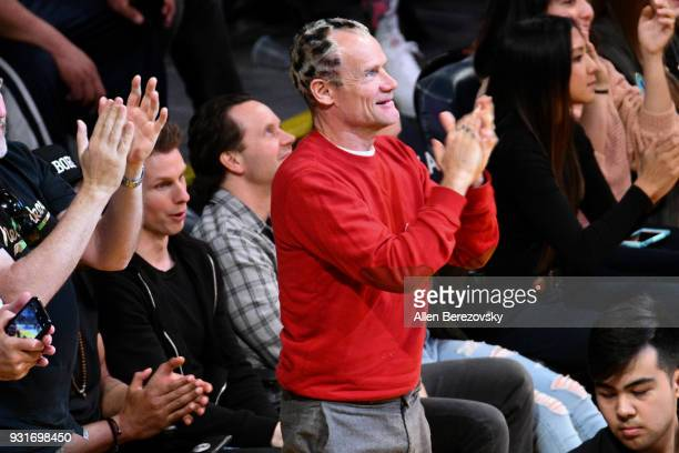 Flea attends a basketball game between the Los Angeles Lakers and the Denver Nuggets at Staples Center on March 13 2018 in Los Angeles California