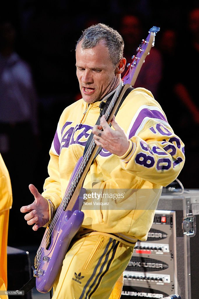 Flea attends Game Five of the Western Conference Finals between the Phoenix Suns and the Los Angeles Lakers during the 2010 NBA Playoffs at Staples Center on May 27, 2010 in Los Angeles, California.