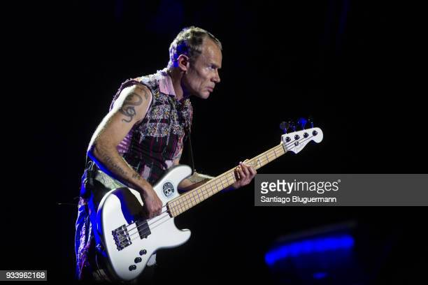 Flea bass player of Red Hot Chili Peppers performs during the first day of Lollapalooza Buenos Aires 2018 at Hipodromo de San Isidro on March 16 2018...