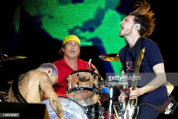 Flea Chad Smith and Josh Klinghoffer of Red Hot Chili Peppers perform on stage during Rock in Rio Madrid 2012 on July 7 2012 in Arganda del Rey Spain