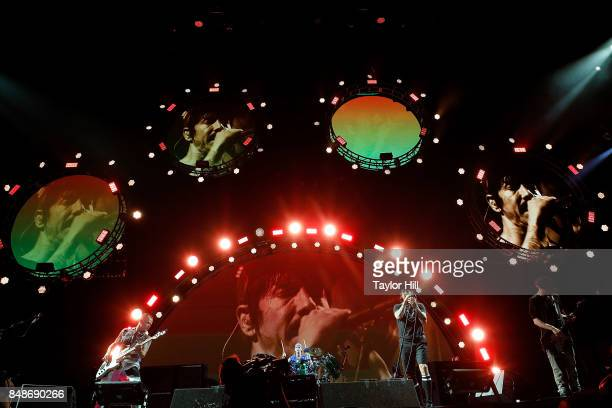 Flea Chad Smith Anothony Keidis and Josh Klinghoffer of Red Hot Chili Peppers erforms onstage during Day 3 at The Meadows Music Arts Festival at Citi...