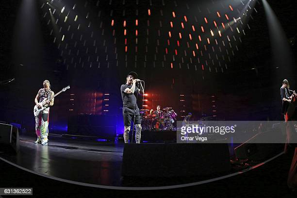 Flea Chad Smith Josh Klinghoffer and Anthony Kiedis of the Red Hot Chili Peppers perform during a show as part of The Getaway World Tour at the...