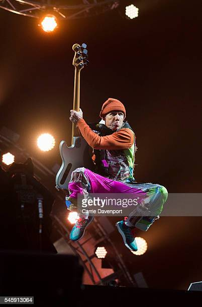 Flea from Red Hot Chili Peppers performs on the main stage at T In The Park at Strathallan Castle on July 10 2016 in Perth Scotland