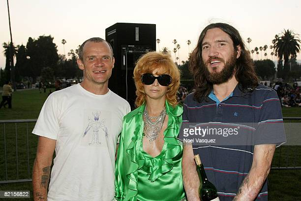 Flea Linda Ramone and John Frusciante attend the Tribute To Johnny Ramone at the Forever Hollywood Cemetery on August 1 2008 in Los Angeles California