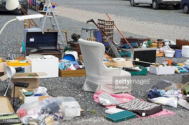 flea market goods for sale - garage sale stock pictures, royalty-free photos & images