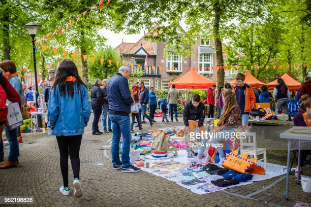 Flea market on King's Day in city of Rijswijk in Netherlands. Koningsdag or King's Day is a national holiday in the Kingdom of the Netherlands....