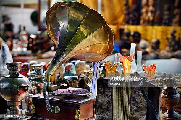 flea market - gramophone stock pictures, royalty-free photos & images