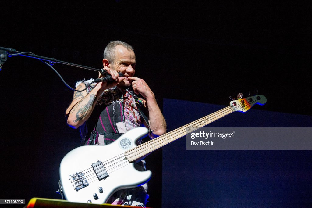Flea of Red Hot Chili Peppers as they perform on stage during the 11th Annual Stand Up for Heroes at The Theater at Madison Square Garden on November 7, 2017 in New York City.