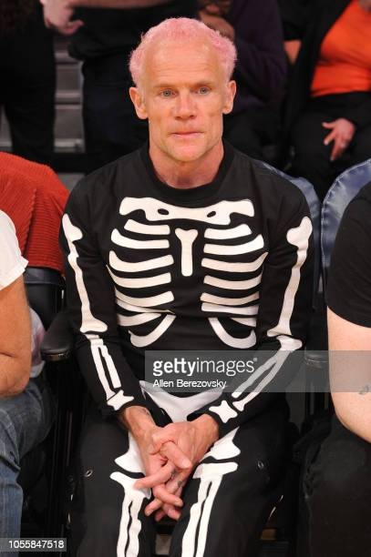 Flea of Red Hot Chili Peppers attends a basketball game between the Los Angeles Lakers and the Dallas Mavericks at Staples Center on October 31 2018...