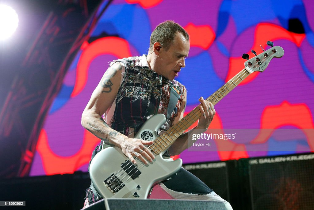 Flea of Red Hot Chili Peppers erforms onstage during Day 3 at The Meadows Music & Arts Festival at Citi Field on September 17, 2017 in New York City.