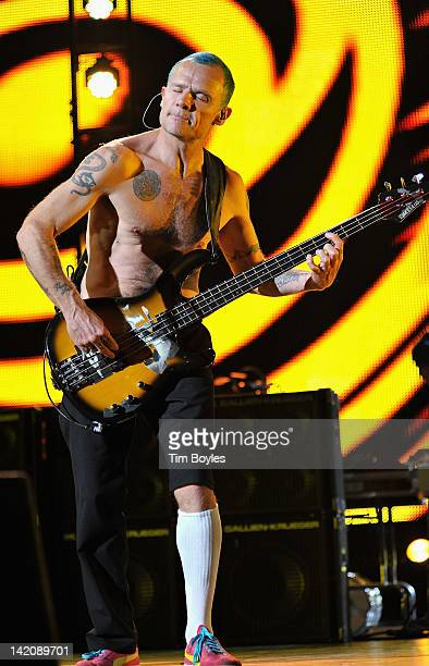 Flea of Red Hot Chili Peppers performs at Tampa Bay Times Forum on March 29, 2012 in Tampa, Florida.