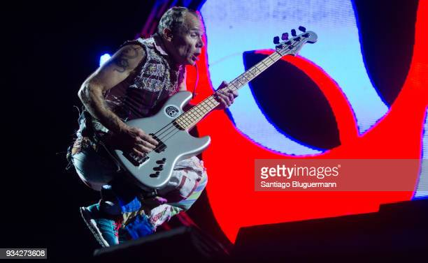 Flea of Red Hot Chili Peppers performs during the first day of Lollapalooza Buenos Aires 2018 at Hipodromo de San Isidro on March 16 2018 in Buenos...
