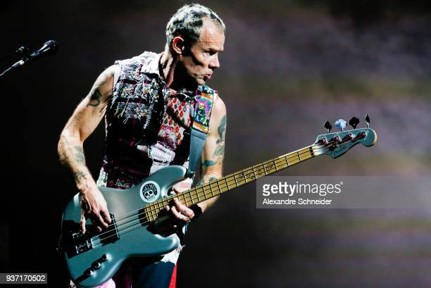 Flea of Red Hot Chili Peppers performs during the Lollapaloosa Sao Paulo 2018 Day 1 on March 23 2018 in Sao Paulo Brazil