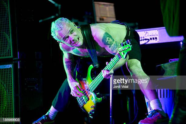 Flea of Red Hot Chili Peppers performs on stage at Palau Sant Jordi on December 15, 2011 in Barcelona, Spain.