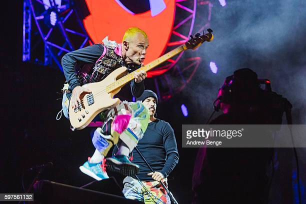 Flea of Red Hot Chili Peppers performs on the Main Stage during day 3 of Leeds Festival 2016 at Bramham Park on August 28 2016 in Leeds England