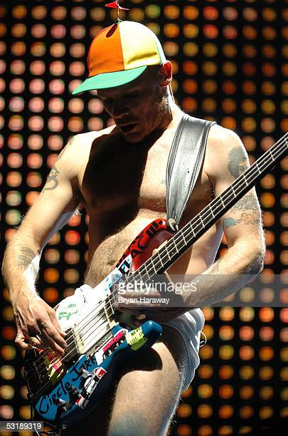 Flea of the group Red Hot Chilli Peppers performs at the Las Vegas Centennial Concert on July 2 2005 in Las Vegas Nevada