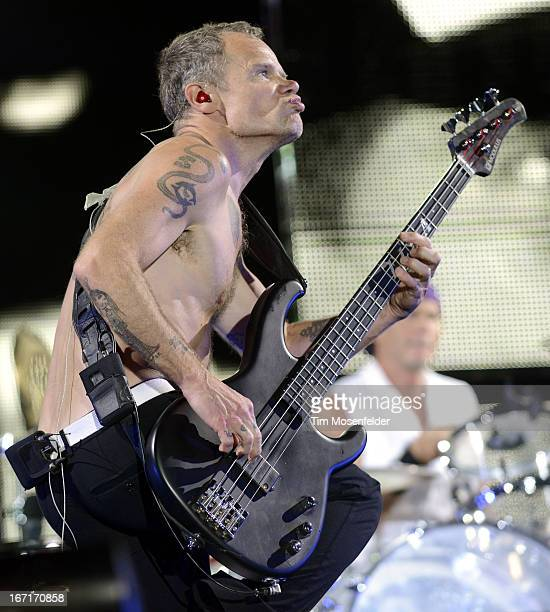 Flea of the Red Hot Chili Peppers performs as part of the 2013 Coachella Valley Music Arts Festival at the Empire Polo Field on April 21 2013 in...