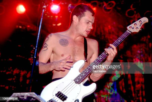 Flea of the Red Hot Chili Peppers performs on stage at the Aragon Ballroom in Chicago, Illinois, December 6, 1991.