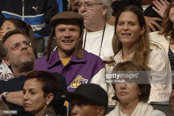 Flea of the Red Hot Chili Peppers sits in the crowd as the Los Angeles Lakers play against the Washington Wizards on December 17 2006 at Staples...
