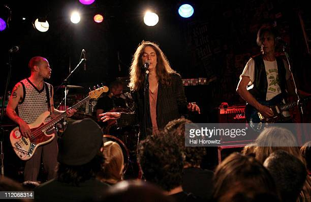 Flea Patti Smith and Lenny Kaye during Patti Smith and Special Guests Play Last Ever Show at Legendary CBGB's at CBGB's in New York City New York...