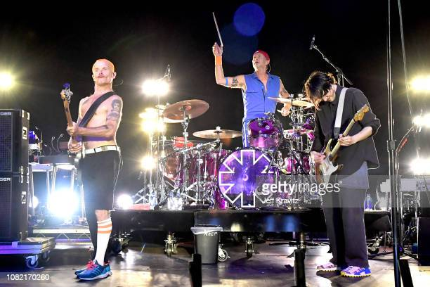 FleaChad SmithJosh Klinghoffer of the Red Hot Chili Peppers performs at Malibu Love Sesh Benefit Concert for victims of the Malibu Fires at the...