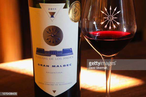 Flechas de los Andes Gran Malbec 2011 single varietal Argentinian wine is served during an afternoon tasting at Château Clark on June 25 2018 in...