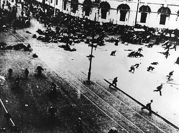 Fleeing crowds during the Russian Revolution which...