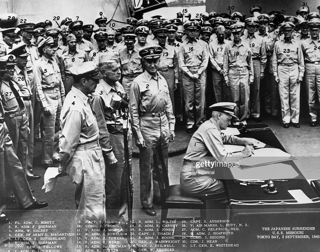 Fleet Admiral Nimitz Signs Japanese Surrender Document : News Photo