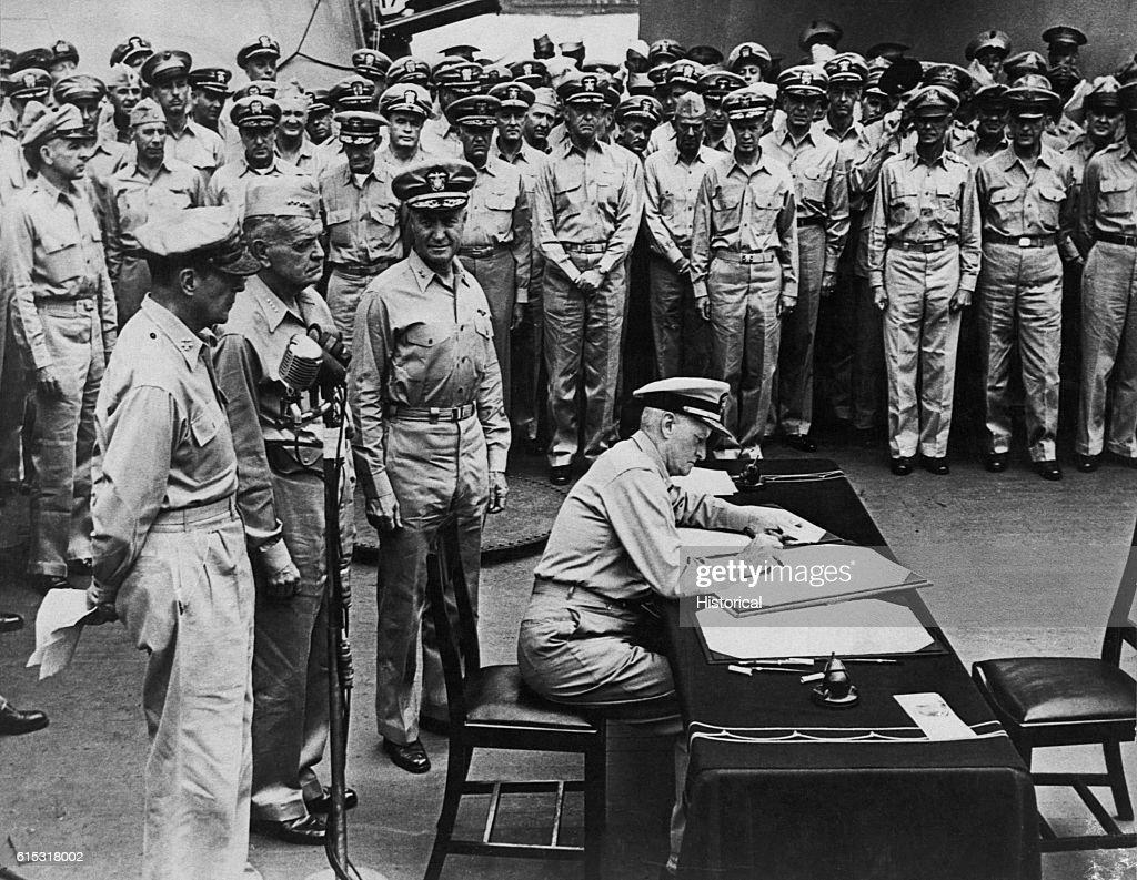 Fleet Admiral Nimitz Signs Japanese Surrender Document : News Photo
