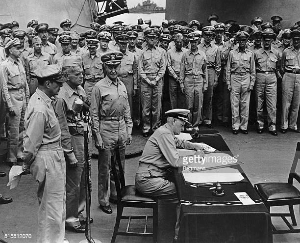 8/2/1945 Fleet Admiral Chester W Nimitz signs the instrument of surrender for the United States aboard the USS Missouri on Sept 2 1945 Immediately...