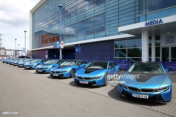 A fleet of 19 protonic blue BMW I8s outside Leicester City King Power Stadium as a gift from chairman Vichai Srivaddhanaprabha to each player who...