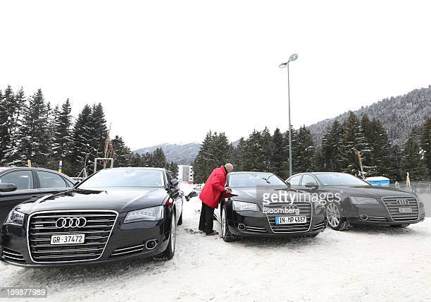 A fleet of Audi A8 Quattro automobiles produced by Audi AG and used as VIP transport during the World Economic Forum are seen in Davos Switzerland on...