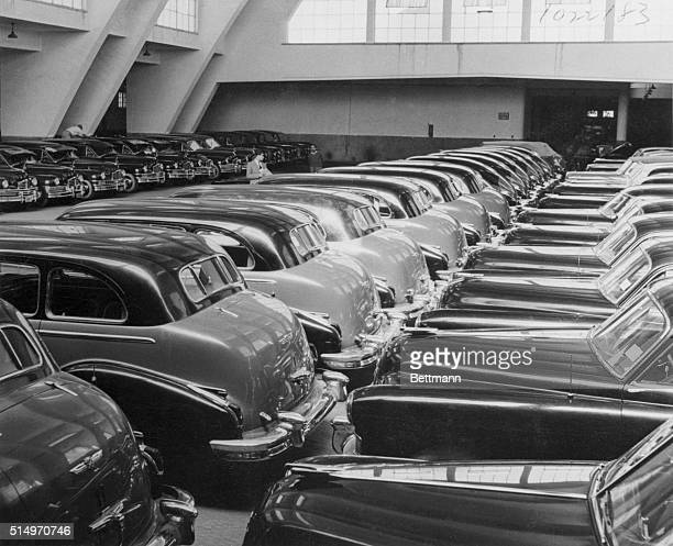 Fleet of cars in the royal garage once used by exKing Farouk and his family They are mostly Cadillacs and Packards