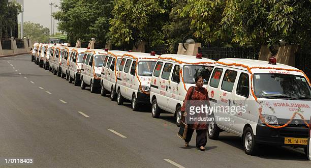 Fleet of fifty new Centralised Accident and Trauma Service Ambulances inaugurated by Delhi Chief Minister Sheila Dixit on June 7 2013 in New Delhi...